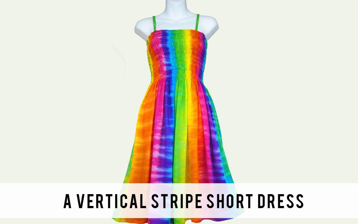 A vertical stripe short dress