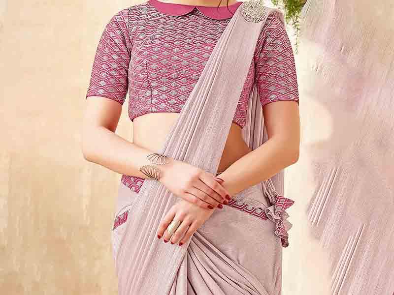flat style collar saree blouse