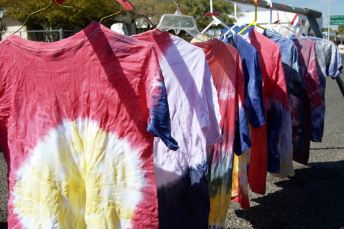 tie and dye fabric drying