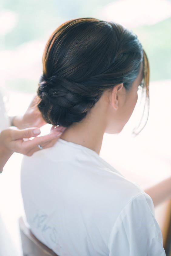 elegant low braided bun