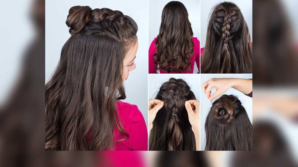 half top knot hairstyle.