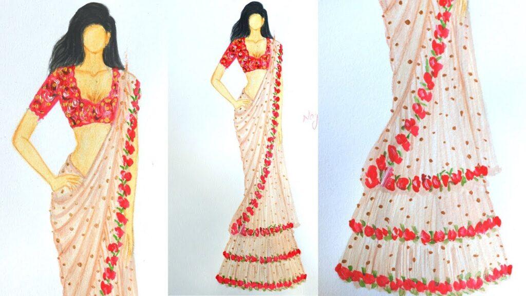 fashion illustration sarees