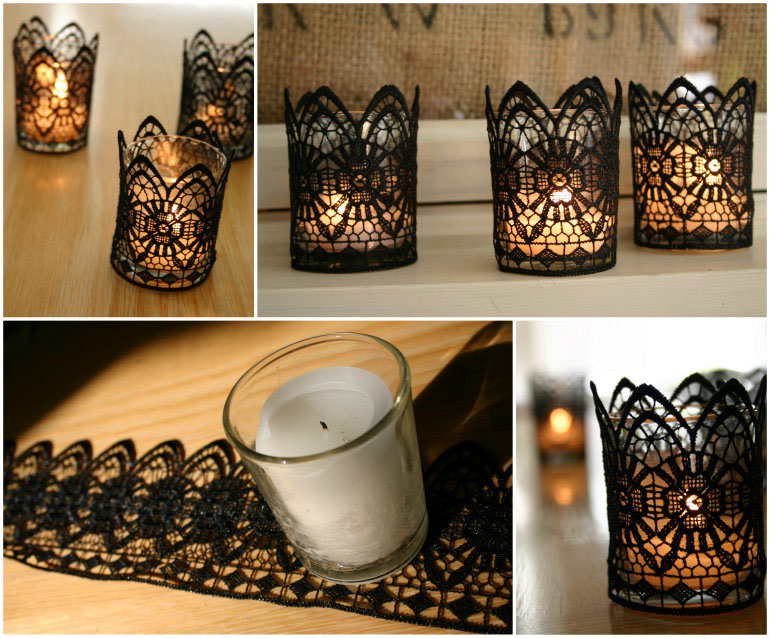candles holders with laces