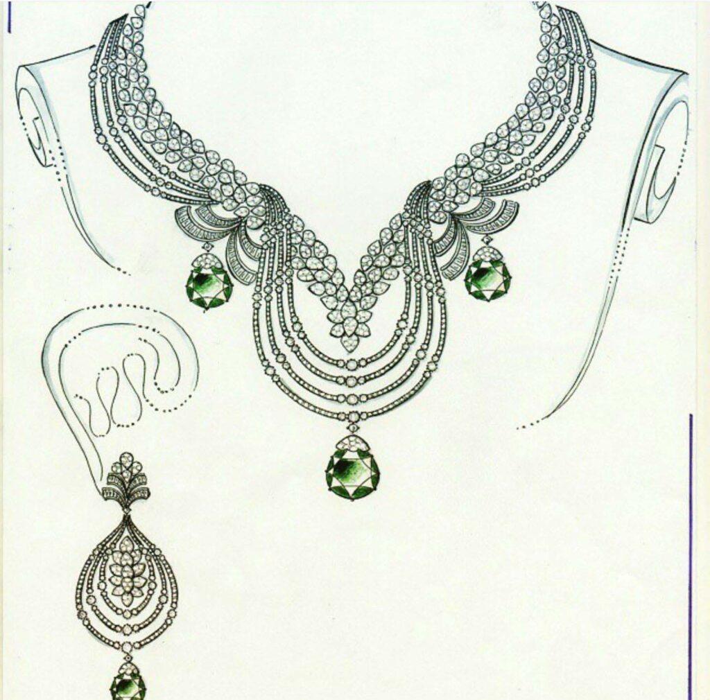 jewellery set drawing