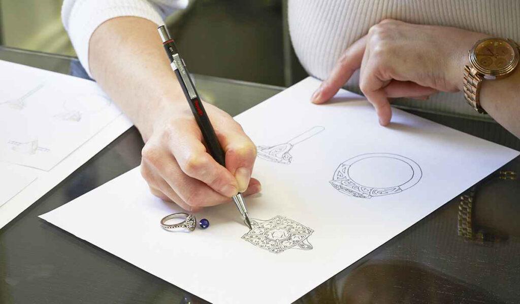 person designing jewellery
