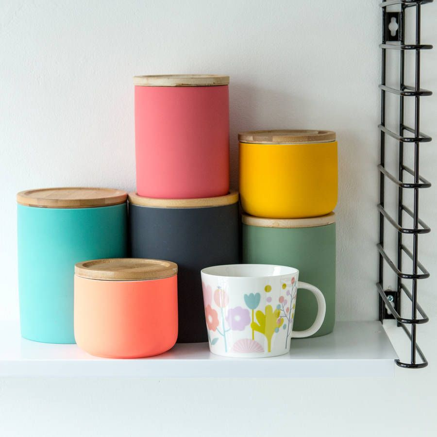 colourful containers in kitchen