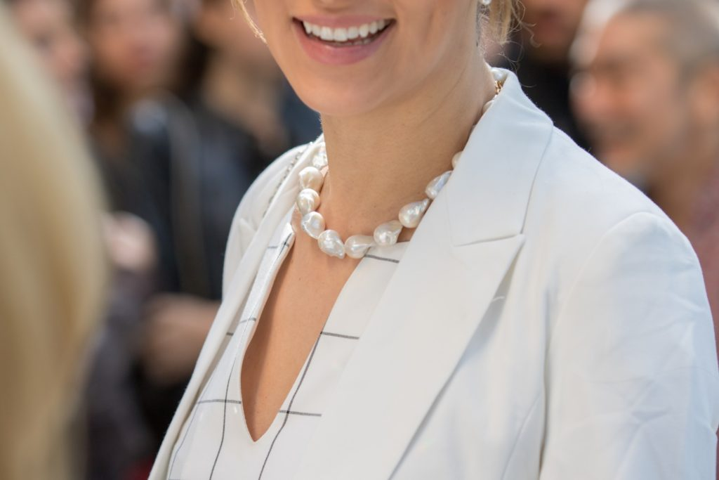 dresses with pearl necklace
