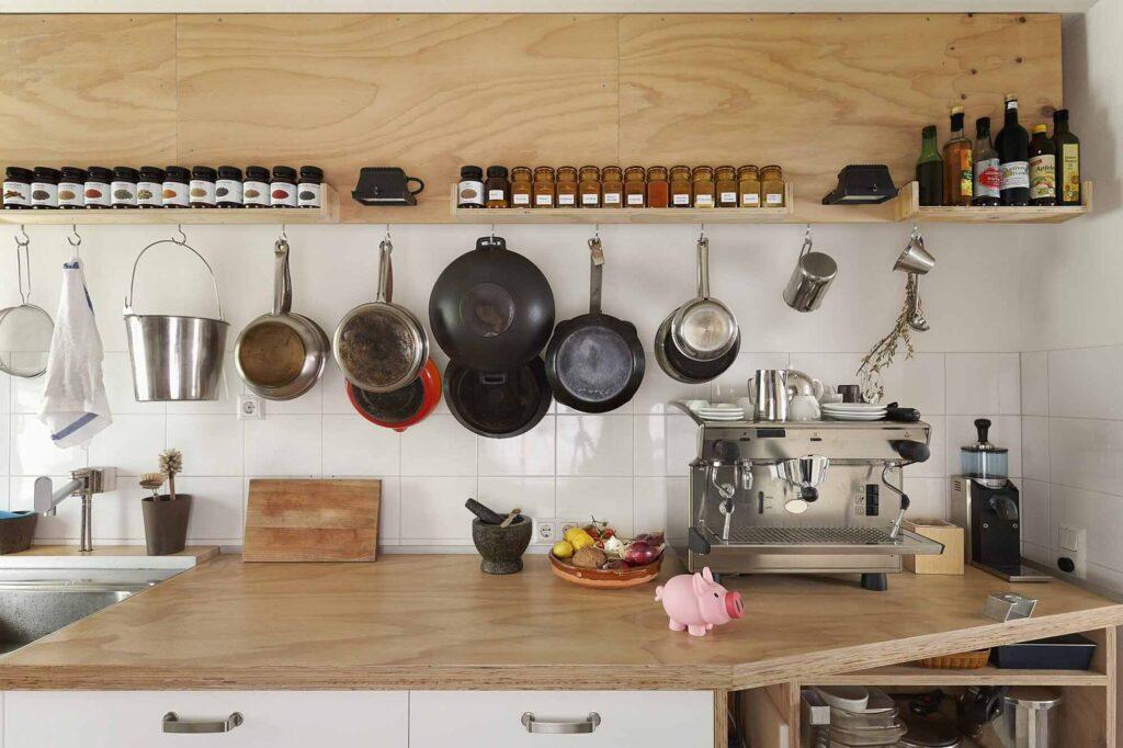 hanging crockery in kitchen