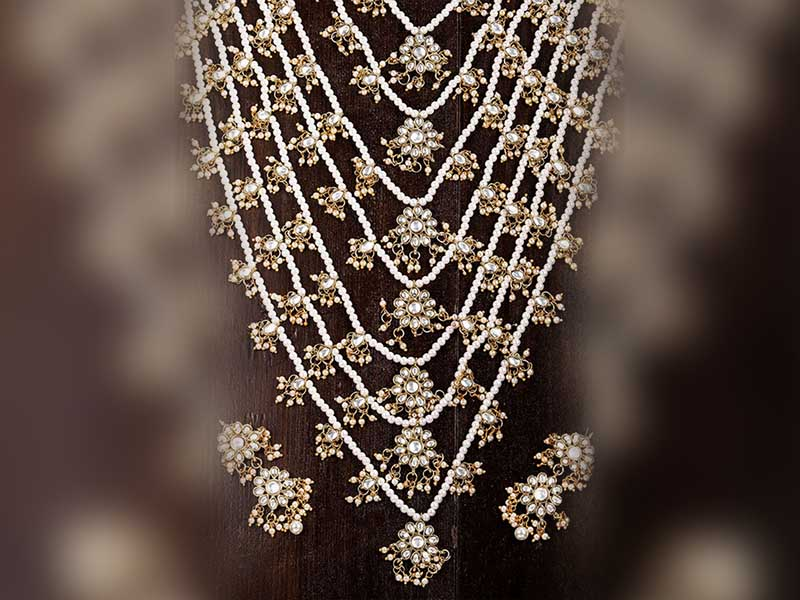 White Layered Necklace Jewellery Set